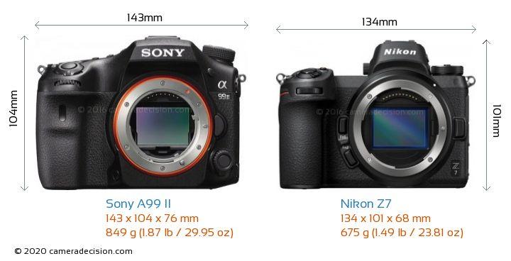 Sony A99 II vs Nikon Z7 Camera Size Comparison - Front View