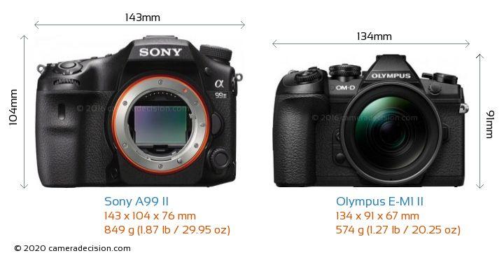 Sony A99 II vs Olympus E-M1 II Camera Size Comparison - Front View