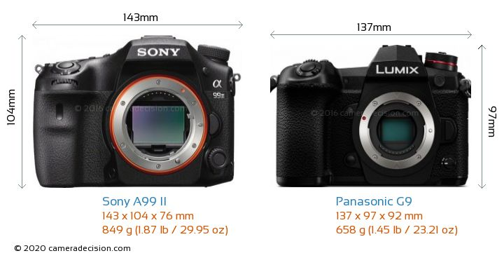 Sony A99 II vs Panasonic G9 Camera Size Comparison - Front View
