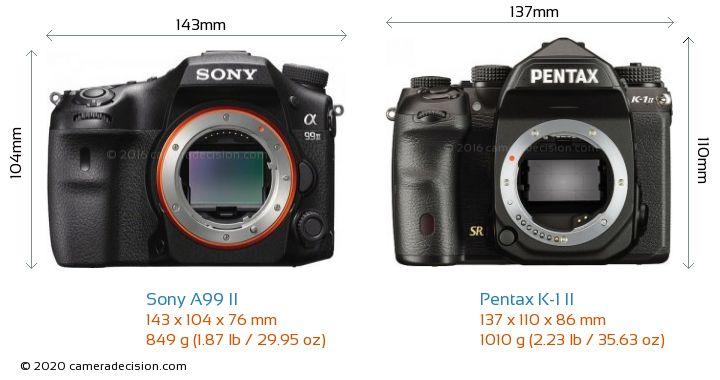 Sony A99 II vs Pentax K-1 II Camera Size Comparison - Front View