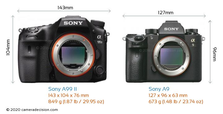 Sony A99 II vs Sony A9 Camera Size Comparison - Front View