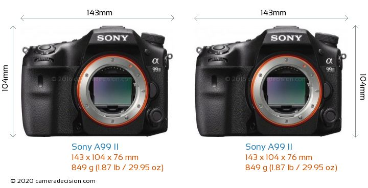 Sony A99 II vs Sony A99 II Camera Size Comparison - Front View