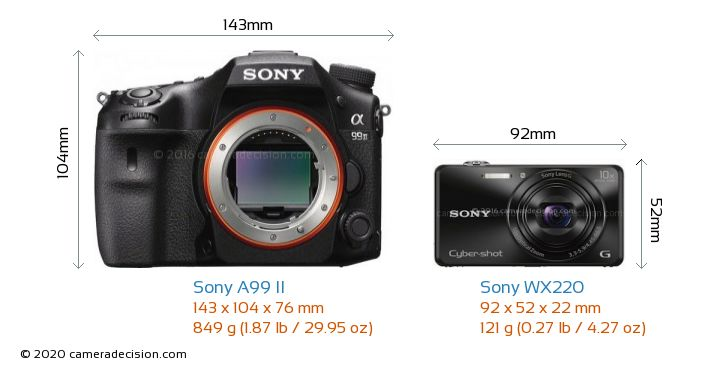 Sony A99 II vs Sony WX220 Camera Size Comparison - Front View