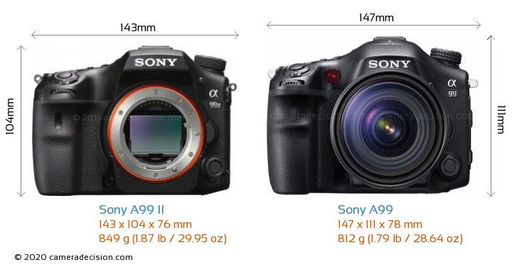 Sony A99 II vs Sony A99 Camera Size Comparison - Front View