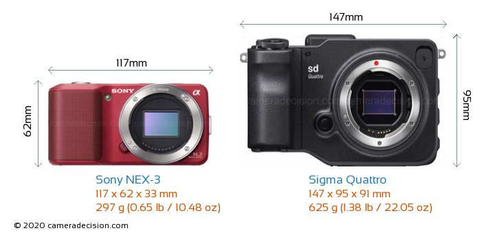 Sony NEX-3 vs Sigma Quattro Camera Size Comparison - Front View