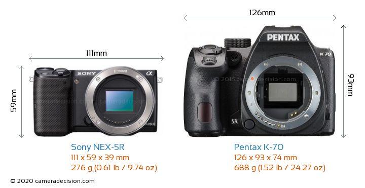 Sony NEX-5R vs Pentax K-70 Camera Size Comparison - Front View