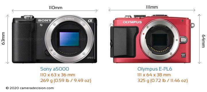 Sony a5000 vs Olympus E-PL6 Camera Size Comparison - Front View