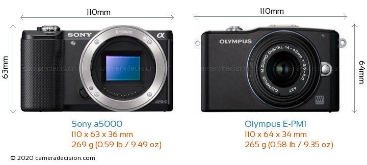 Sony a5000 vs Olympus E-PM1 Camera Size Comparison - Front View