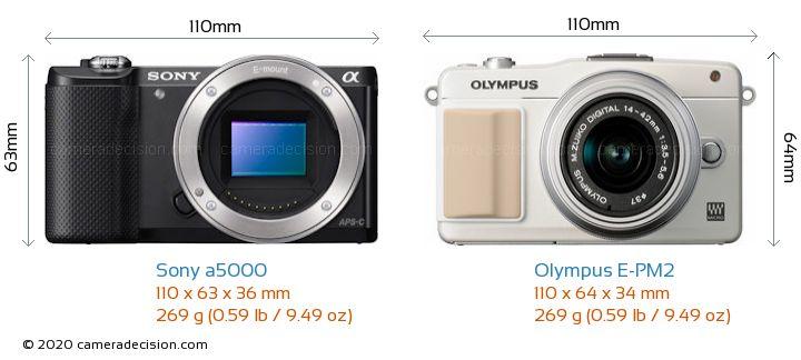 Sony a5000 vs Olympus E-PM2 Camera Size Comparison - Front View