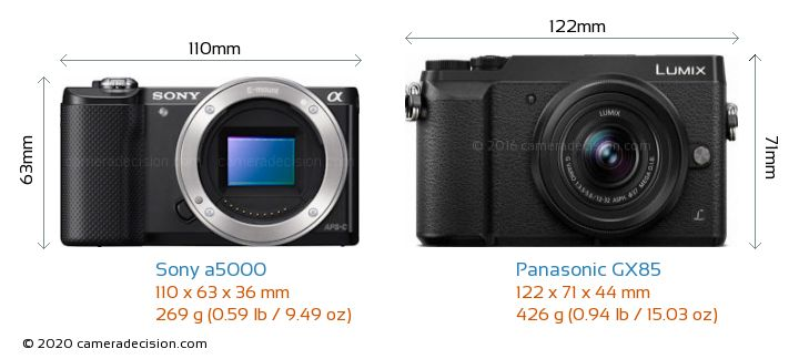 Sony a5000 vs Panasonic GX85 Camera Size Comparison - Front View
