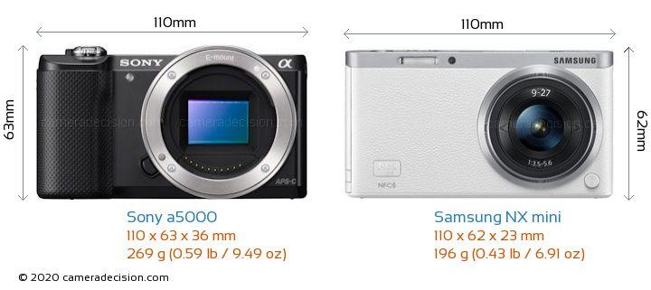 Sony a5000 vs Samsung NX mini Camera Size Comparison - Front View