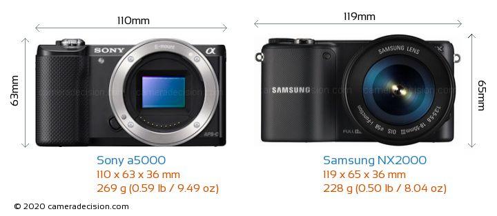 Sony a5000 vs Samsung NX2000 Camera Size Comparison - Front View