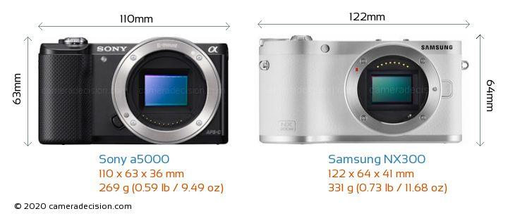 Sony a5000 vs Samsung NX300 Camera Size Comparison - Front View