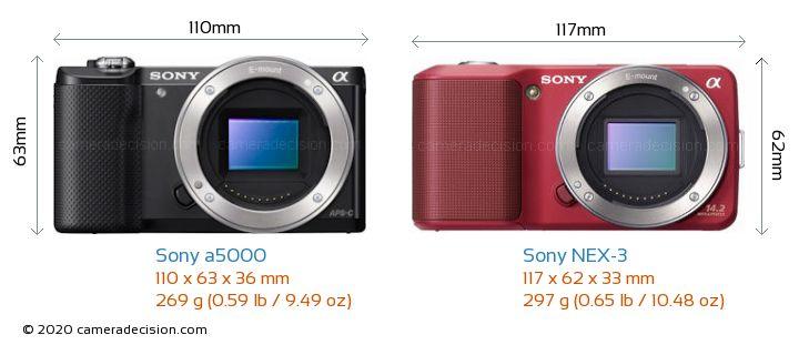 Sony a5000 vs Sony NEX-3 Camera Size Comparison - Front View