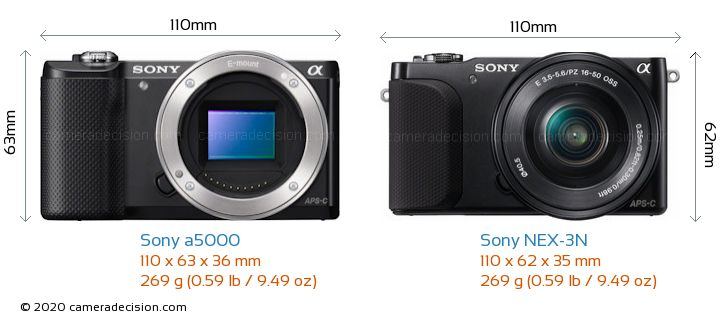 Sony a5000 vs Sony NEX-3N Camera Size Comparison - Front View