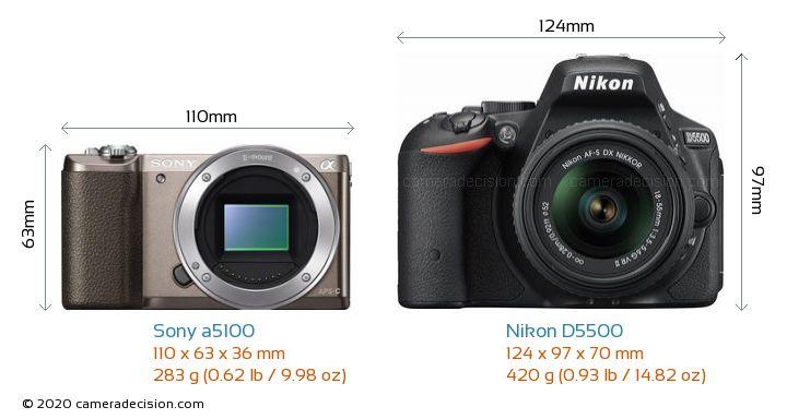 Sony a5100 vs Nikon D5500 Camera Size Comparison - Front View