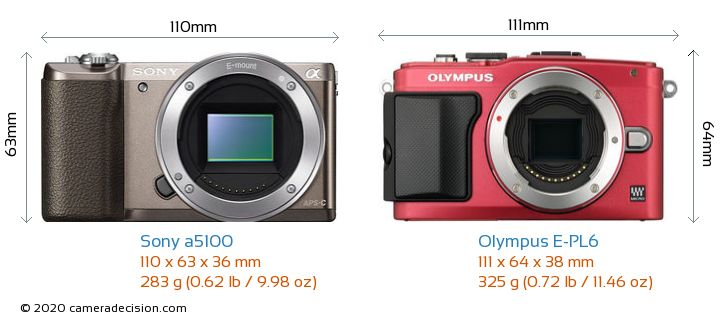 Sony a5100 vs Olympus E-PL6 Camera Size Comparison - Front View