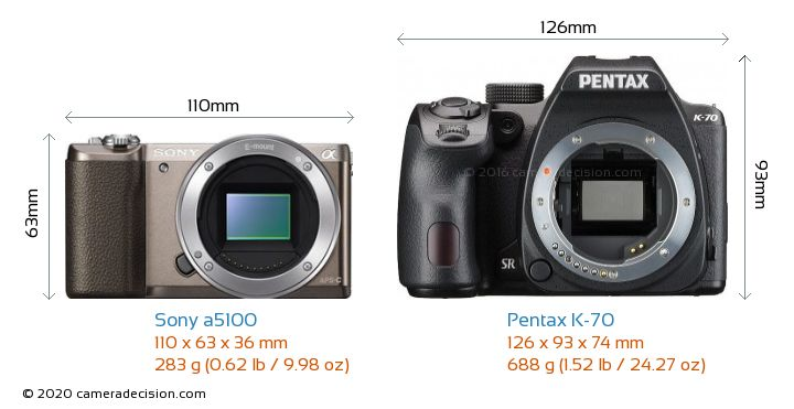 Sony a5100 vs Pentax K-70 Camera Size Comparison - Front View