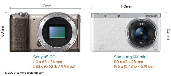Sony a5100 vs Samsung NX mini Camera Size Comparison - Front View