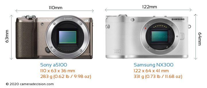 Sony a5100 vs Samsung NX300 Camera Size Comparison - Front View
