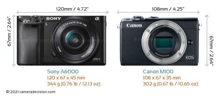 Sony A6000 vs Canon M100 Camera Size Comparison - Front View