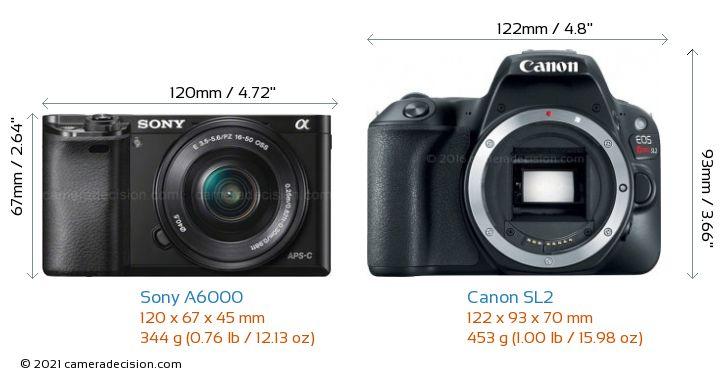 Sony A6000 vs Canon SL2 Camera Size Comparison - Front View