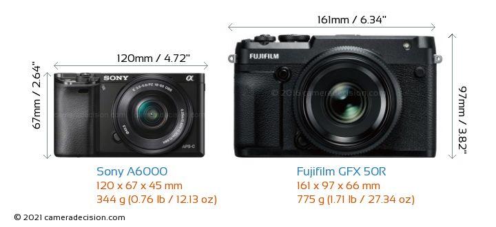 Sony A6000 vs Fujifilm GFX 50R Camera Size Comparison - Front View