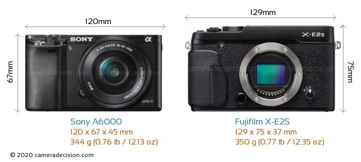 Sony A6000 vs Fujifilm X-E2S Camera Size Comparison - Front View