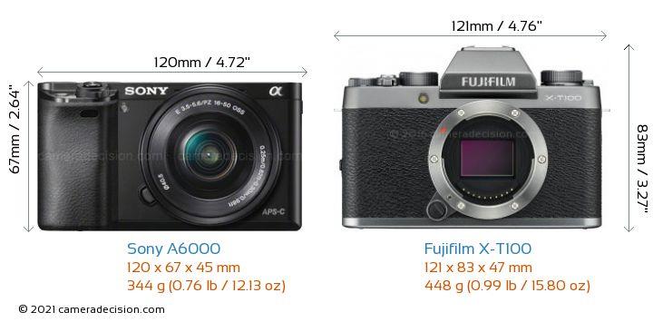 Sony A6000 vs Fujifilm X-T100 Camera Size Comparison - Front View