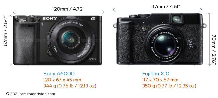 Sony A6000 vs Fujifilm X10 Camera Size Comparison - Front View
