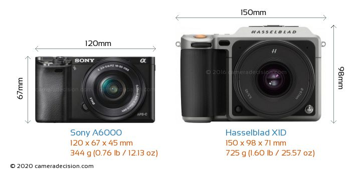 Sony A6000 vs Hasselblad X1D Camera Size Comparison - Front View