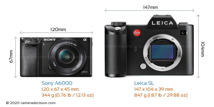 Sony A6000 vs Leica SL Camera Size Comparison - Front View