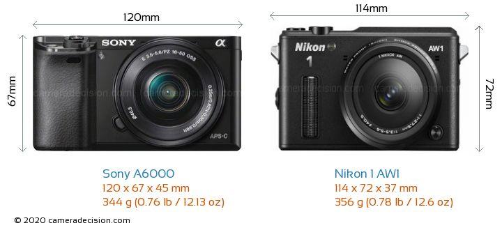 Sony A6000 vs Nikon 1 AW1 Camera Size Comparison - Front View