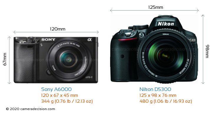 Sony A6000 vs Nikon D5300 Camera Size Comparison - Front View