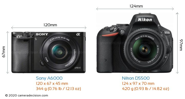 Sony A6000 vs Nikon D5500 Camera Size Comparison - Front View
