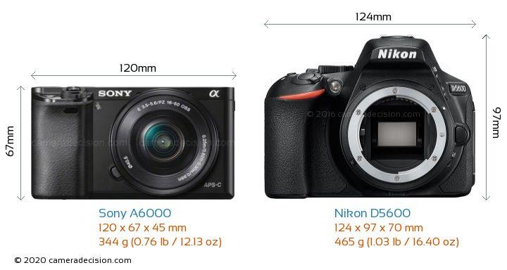 Sony A6000 vs Nikon D5600 Camera Size Comparison - Front View
