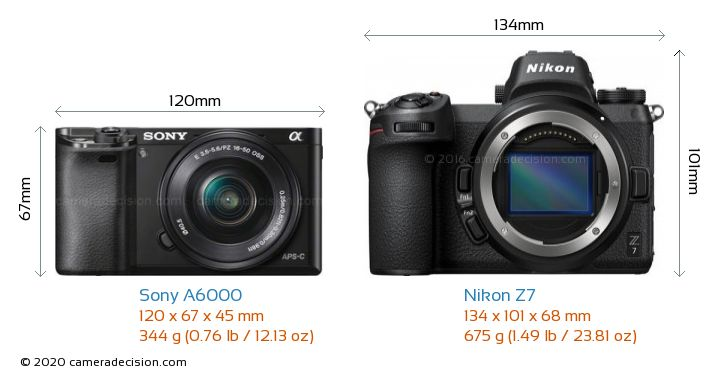 Sony A6000 vs Nikon Z 7 Camera Size Comparison - Front View
