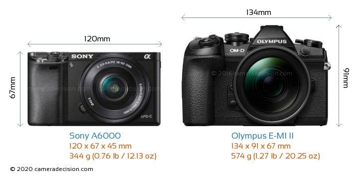 Sony A6000 vs Olympus E-M1 II Camera Size Comparison - Front View