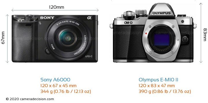 Sony A6000 vs Olympus E-M10 II Camera Size Comparison - Front View