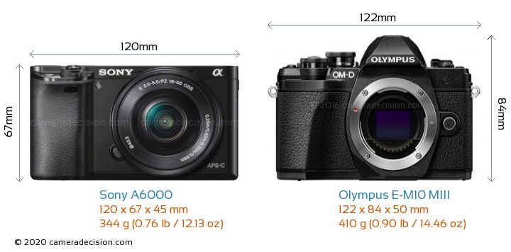 Sony A6000 vs Olympus E-M10 MIII Camera Size Comparison - Front View