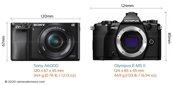 Sony A6000 vs Olympus E-M5 II Camera Size Comparison - Front View