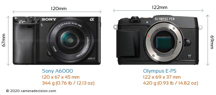 Sony A6000 vs Olympus E-P5 Camera Size Comparison - Front View