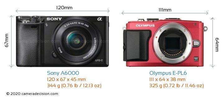Sony A6000 vs Olympus E-PL6 Camera Size Comparison - Front View