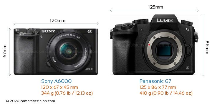 Sony A6000 vs Panasonic G7 Camera Size Comparison - Front View