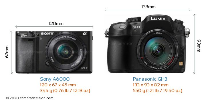 Sony A6000 vs Panasonic GH3 Camera Size Comparison - Front View