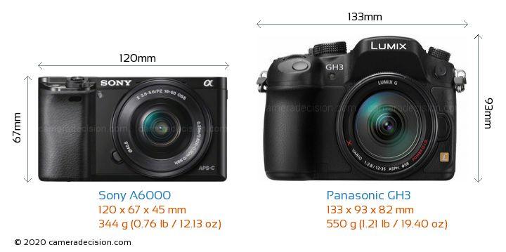 Sony A6000 vs Panasonic GH3 Camera Size Comparison - Front View