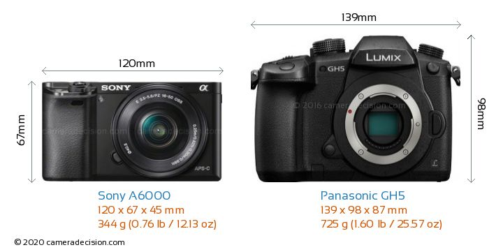 Sony A6000 vs Panasonic GH5 Camera Size Comparison - Front View