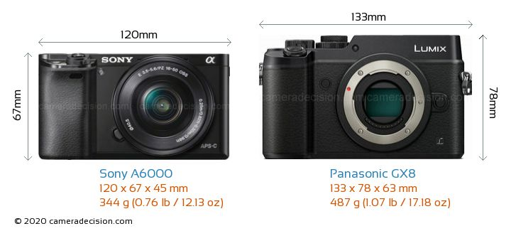 Sony A6000 vs Panasonic GX8 Camera Size Comparison - Front View