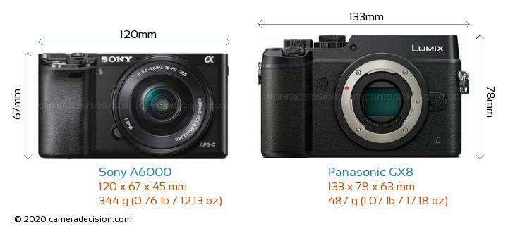 Sony A6000 vs Panasonic GX8 Camera Size Comparison - Front View