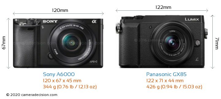 Sony A6000 vs Panasonic GX85 Camera Size Comparison - Front View